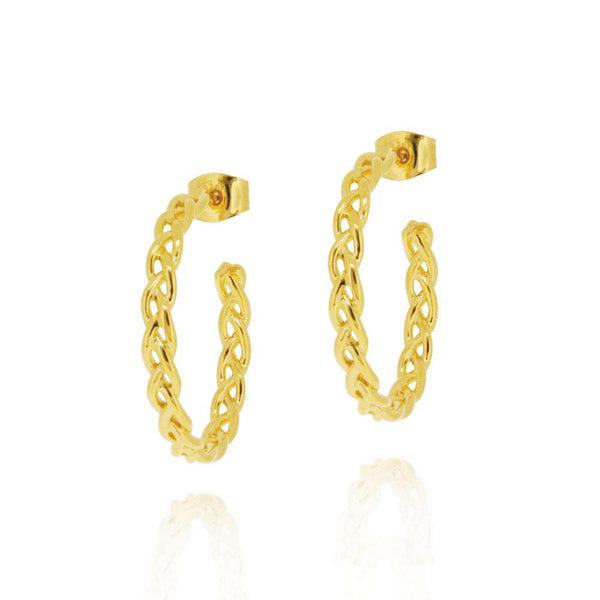 Woven Hoop Earrings - GOLD PLATE SS