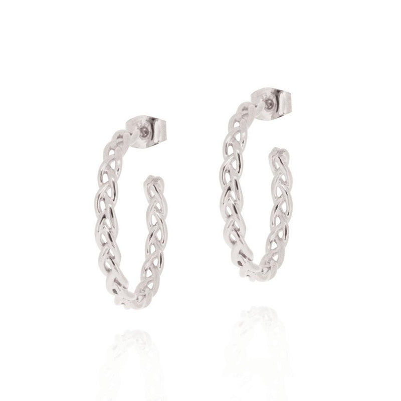 Woven Hoop Earrings - STERLING SILVER