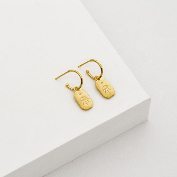 Protection Amulet Charm Earrings - GOLD PLATED SS