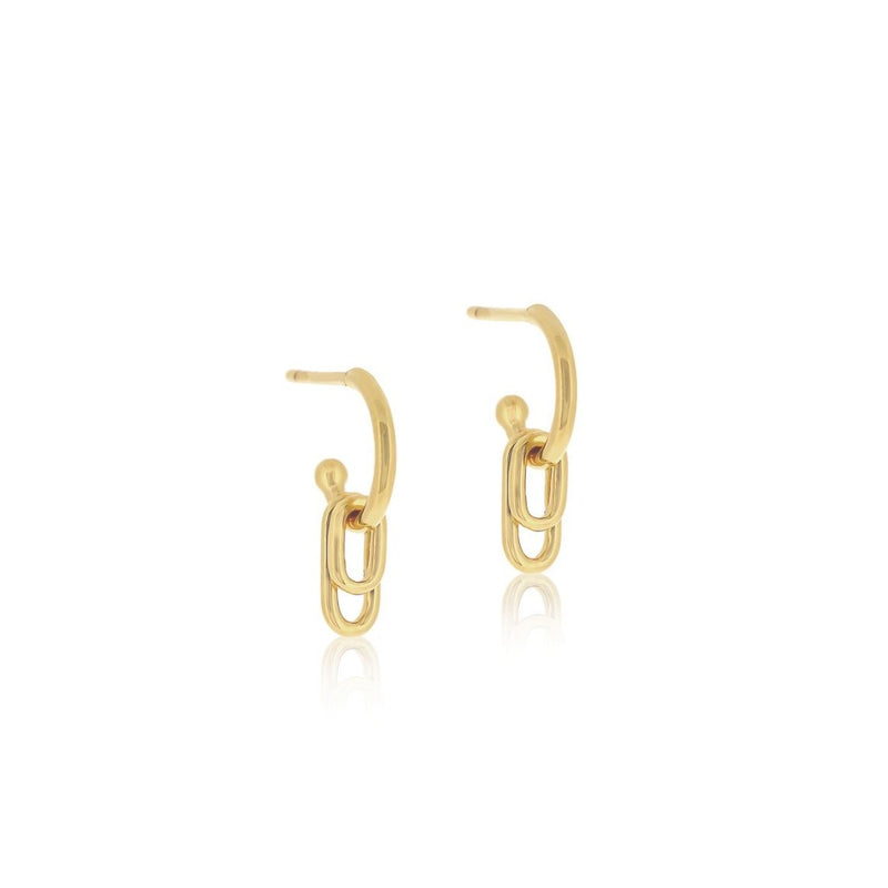 Linda Tahija Ellipse Hoop Earrings GOLD PLATED SS