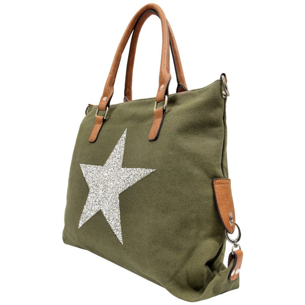 SASSY20 Star Power Canvas Bag KHAKI