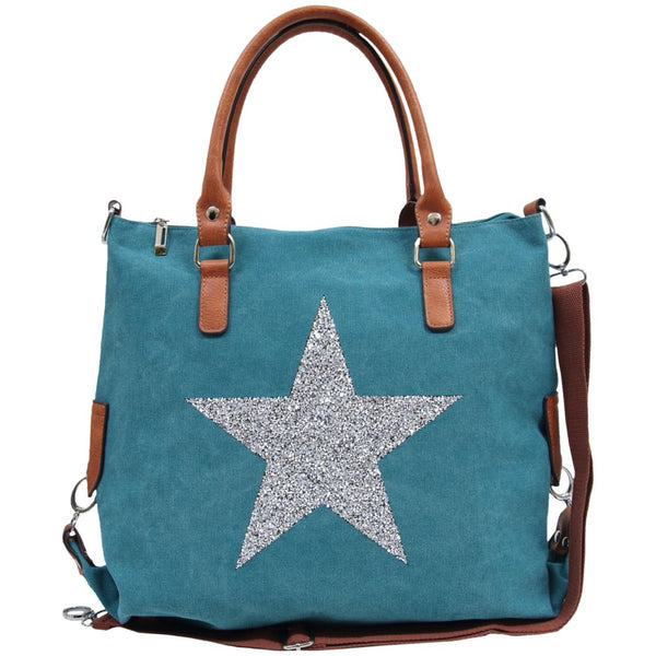 Star Power Canvas Bag TURQUOISE