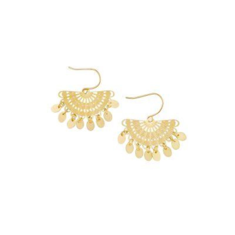 Gold Fan Tinkle Earring