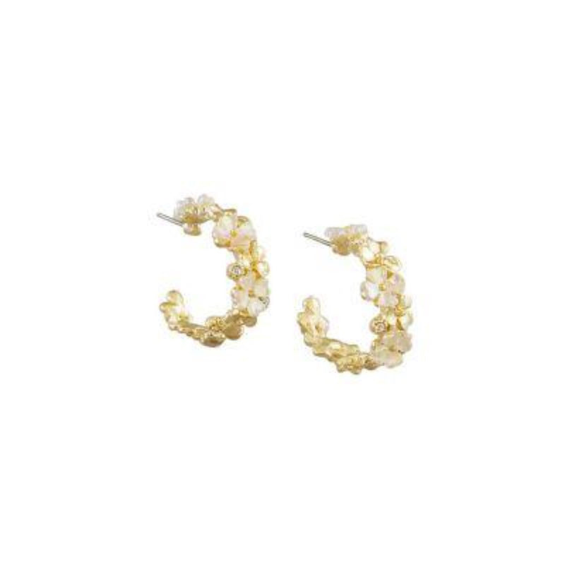 Pearl & Gold Flower Wide Hoops