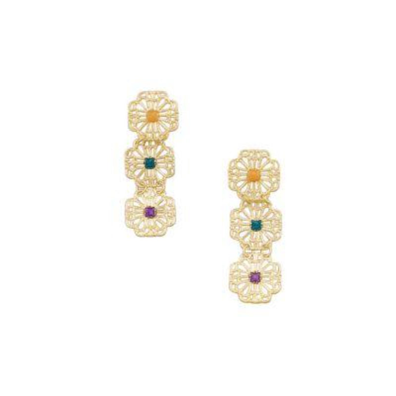TT20 Gold Three Flower Drop Earrings