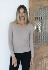 HUMIDITY Merino V-Neck Basic STONE
