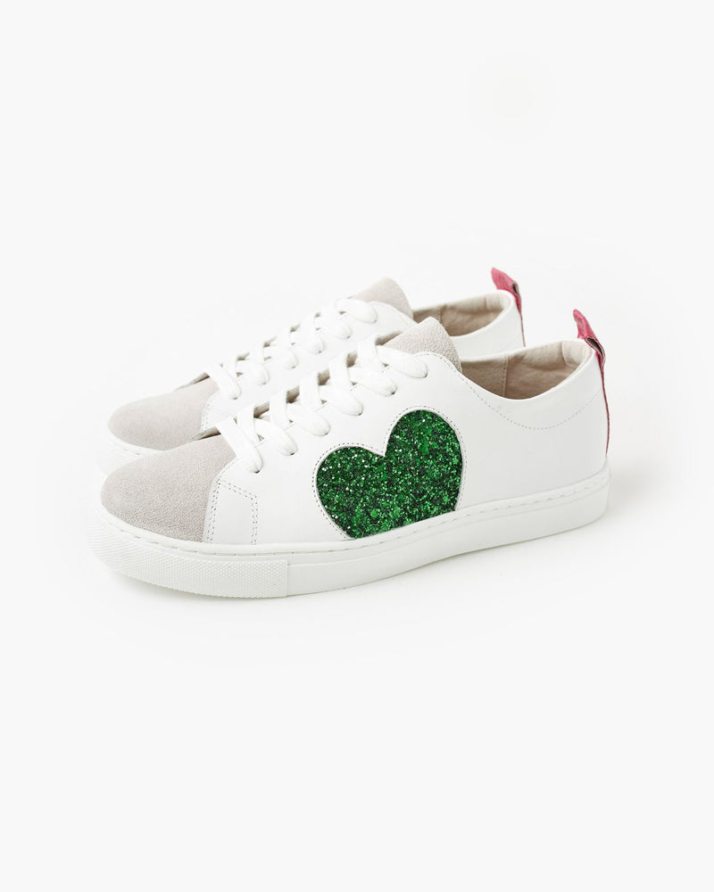 Heart Leather Sneaker GREEN GLITTER