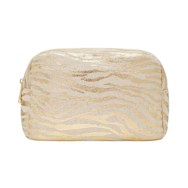 Large Cosmetics Bag GOLD ZEBRA