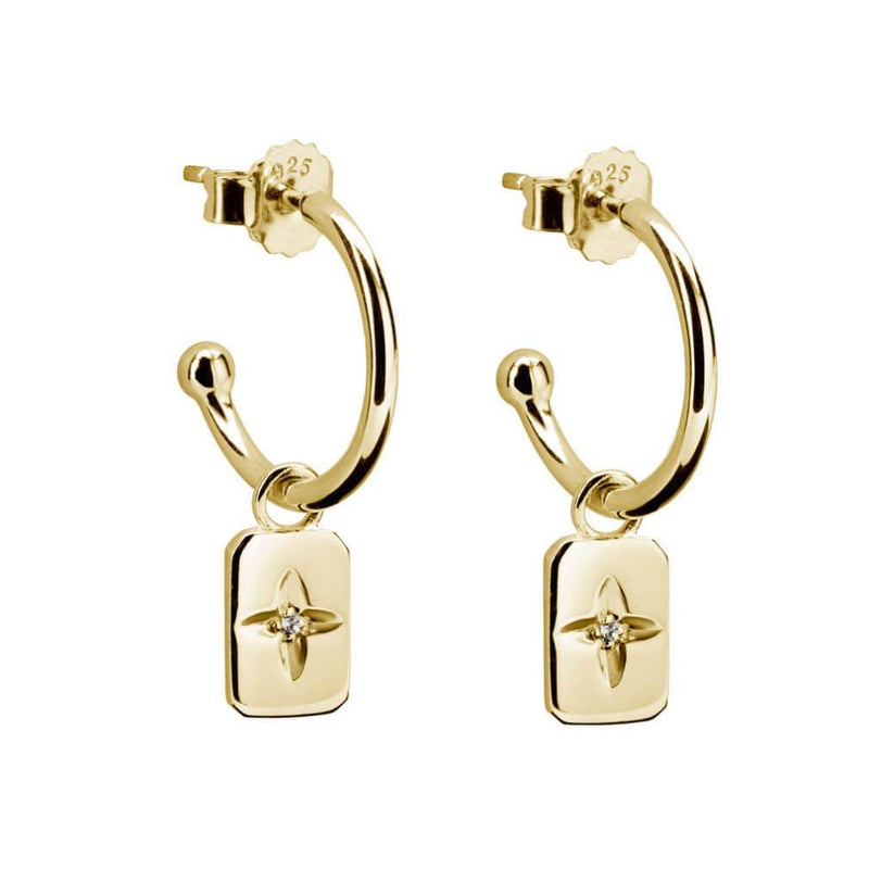 Murkani20 Desert Flower Rectangle Hoop Earrings Gold