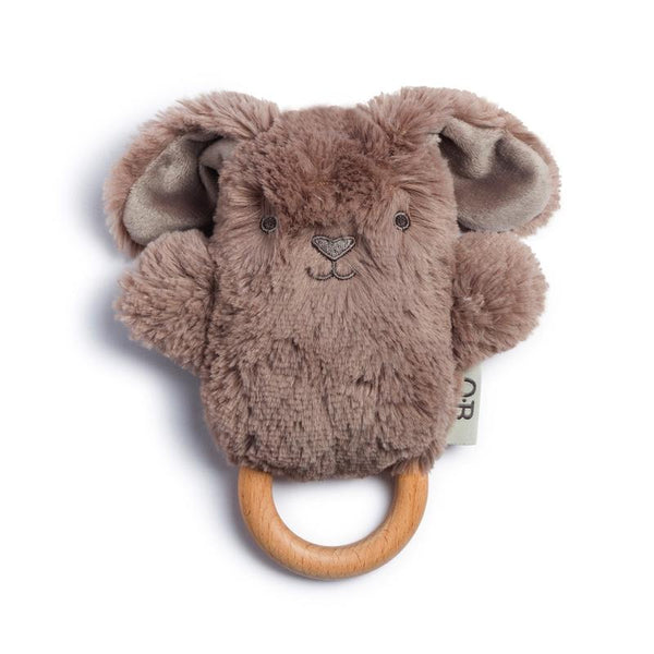 OB DESIGNS Baby Rattle & Wooden Teether BYRON BUNNY