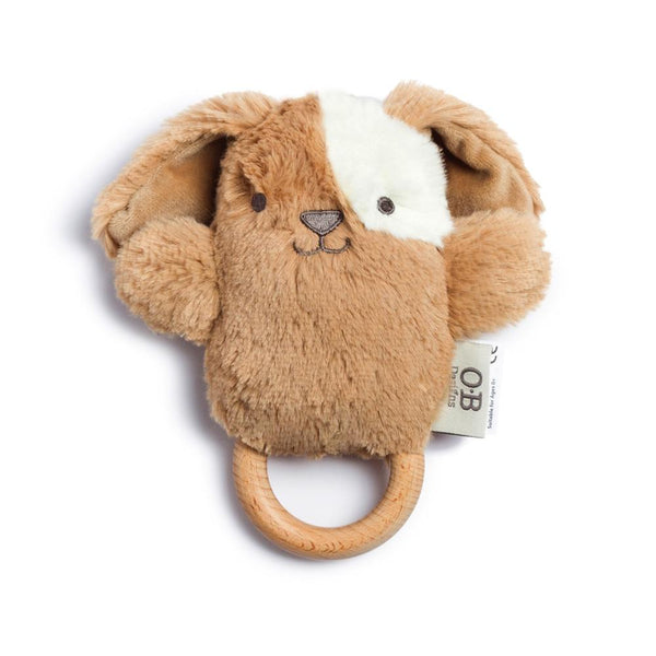 OB DESIGNS Baby Rattle & Wooden Teether DUKE DOG