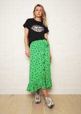 THE OTHERS Frill Wrap Skirt GREEN POLKA