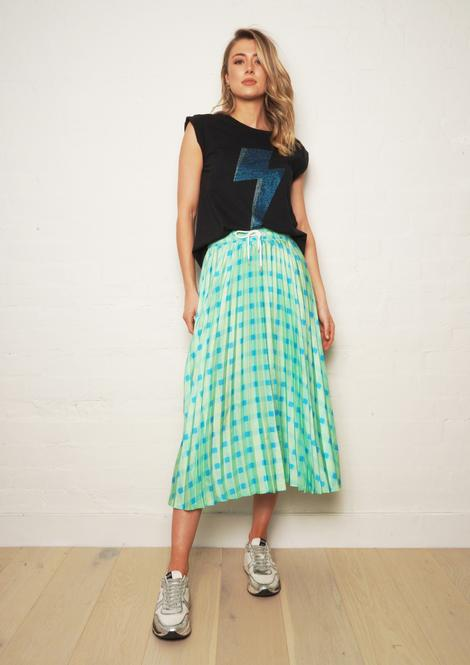 THE OTHERS Gingham Pleat Skirt LIME GINGHAM