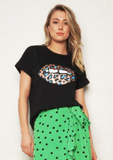 THE OTHERS Relaxed tee BLACK/LEOPARD LIPS