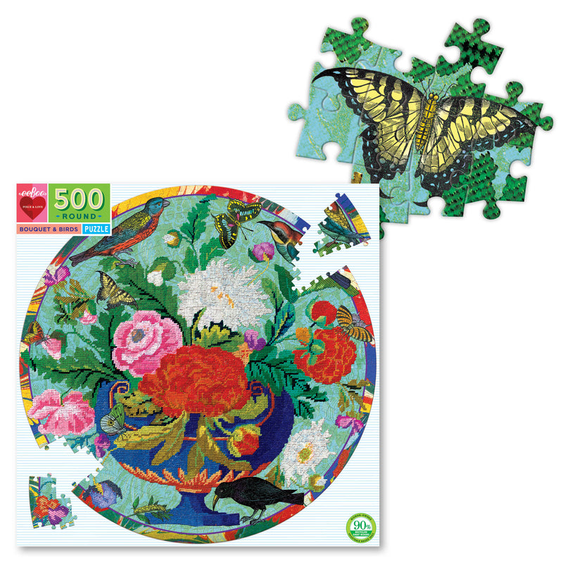 500 Pce Round Puzzle BOUQUET & BIRDS