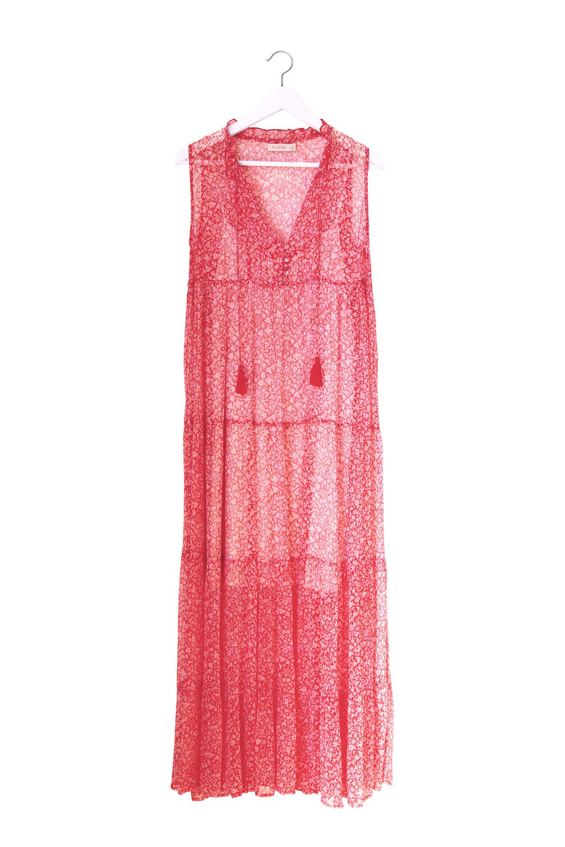 FOUNDLING20 Holi Tiered Maxi Dress RED&Pink