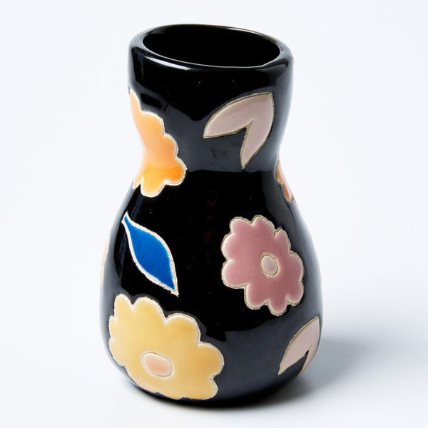 JONES & CO Saturday Vase Black Floral