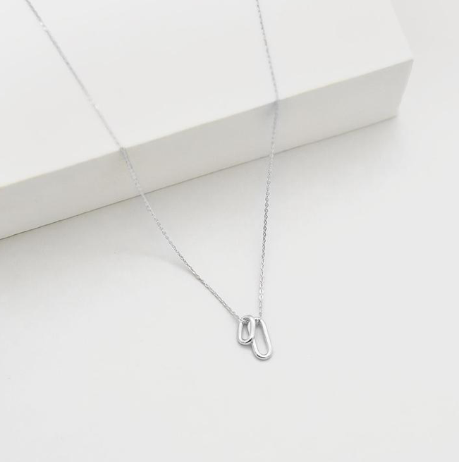 Tiny Ellipse Necklace STERLING SILVER