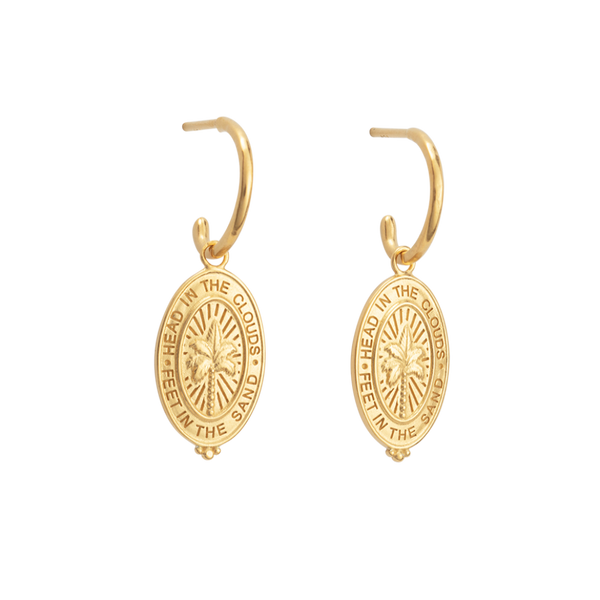 Kirstin Ash Palm Coin Hoops 18K GOLD PLATED