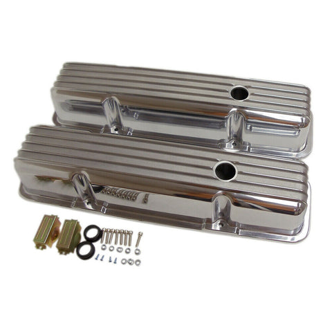 DEMOTOR Retro Finned Polished Aluminum Tall Valve Covers for 58-86 SBC Chevy 327 350 400