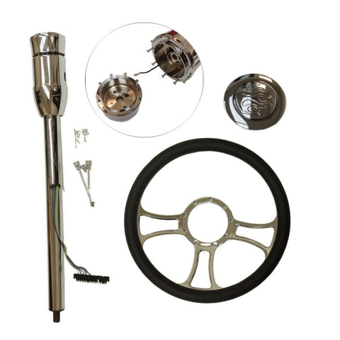 "14"" Chrome Independent Steering Wheel & Manual Steering Column 30"" GM No Key & Flame Horn Button"
