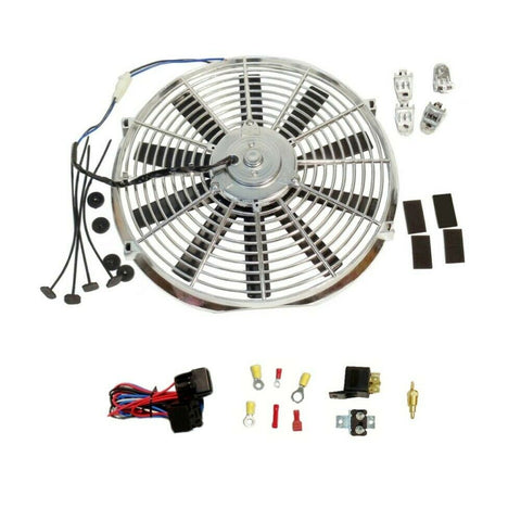"DEMOTOR Chrome Electric 14"" Straight Blade Reversible Cooling Fan 12v Thermostat Kit"