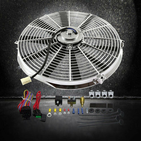 "DEMOTOR Chrome Electric 12"" Straight Blade Reversible Cooling Fan 12v with Thermostat Kit"