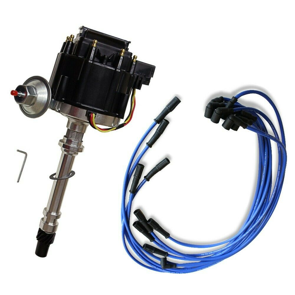 DEMOTOR Black Cap Complete HEI Distributor 65k Volt Ignition Coil & 9.5 mm Blue Straight Spark Plug Wires Fits Chevy V8 305 350 454 SBC BBC