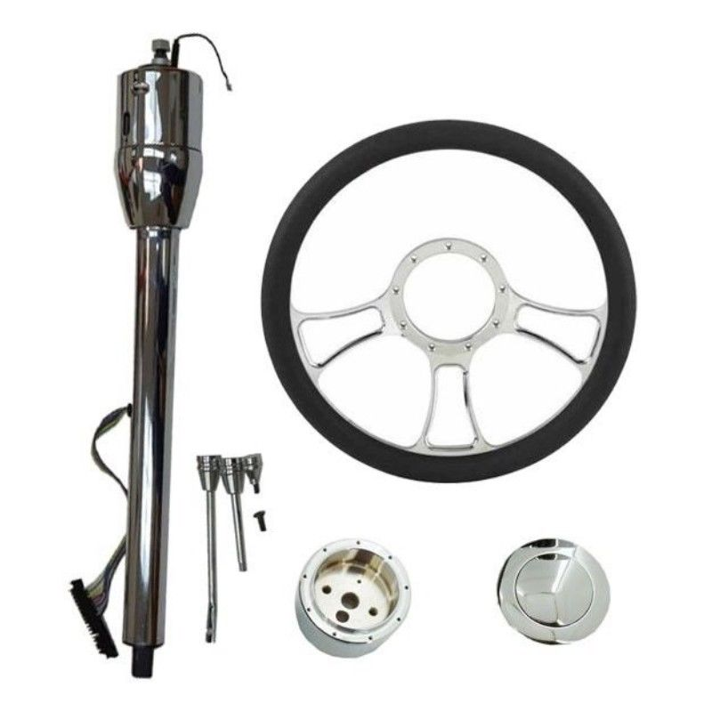 "14"" Chrome Independent Steering Wheel & Manual Steering Column 30"" GM No Key & Smooth Horn Button"