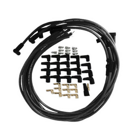 8mm Silicone Spark Plug Wires 90 Degree Boot Black