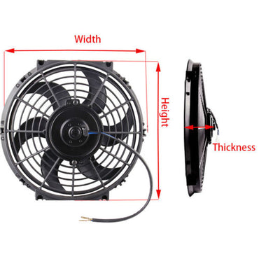 "Universal High Performance 12"" Electric Curved Blade Reversible Cooling Fan 12V 80W 1400CFM w/ Mounting Kit"