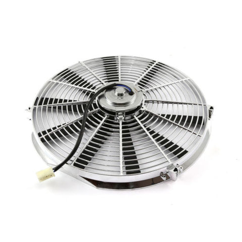"Chrome 10"" Pull/Push 12v Silm Electric Radiator Motor Cooling Fan & Mounting Kit"