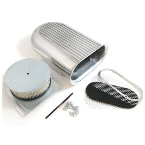 Polished Aluminum Hilborn Style Finned Hood Air Scoop Kit - Single 4 BBL Carb