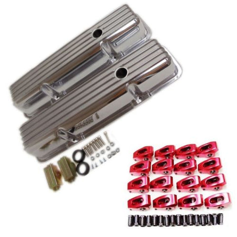 "SBC Small Block Checy 350 1.5 7/16"" Aluminum Roller Rocker Arms & Valve Cover Combo Kit"