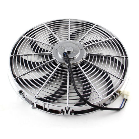 "16"" CHROME HEAVY DUTY REVERSABLE ELECTRIC COOLING FAN 2500CFM W/ Thermostat Kit"