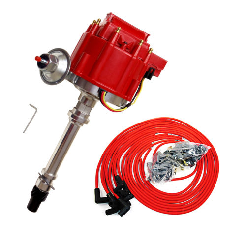 HEI Distributor For Chevy SBC 350 BBC 454 & 9.5 MM 90 Degree Spark Plug Wire Red