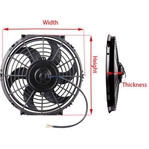Universal High Performance 12V Slim Electric Cooling Radiator Fan With Fan Mounting Kit (10 Inch, Black)
