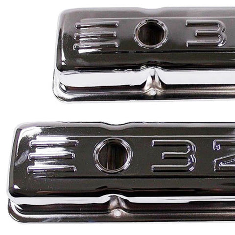 Small Block Chevy 58-86 Chrome Steel C.I.D. Short Valve Cover 283 327 350 SBC