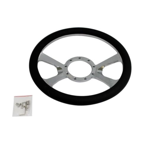 "14"" Chrome Billet Aluminum Steering Wheel w/o Lines on the Corners-9 Hole"
