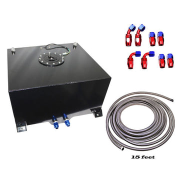 10 Gallon Black Aluminum Fuel Cell Tank& Fuel Hose Sender& 15 feet Fuel Line kit