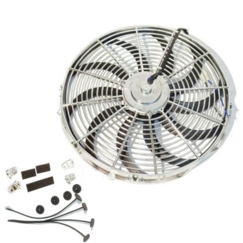 Universal High Performance 12V Slim Electric Cooling Radiator Fan With Fan Mounting Kit (12 Inch, Chrome)