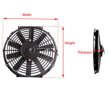 "16"" Straight Blade Reversible Cooling radiator Fan 12v 3000cfm"