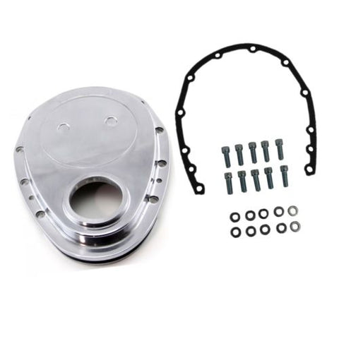 SBC Chevy Polished Aluminum Timing Chain Cover Kit - 283 327 350 400 Small Block