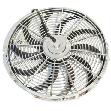 "14"" Chrome Heavy Duty Radiator Electric Fan Reversible SBC BBC 350"