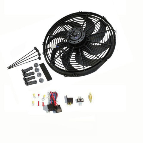 "14"" Heavy Duty Electric Wide Curved Blade FAN 2000CFM Reversible /Thermostat Kit"
