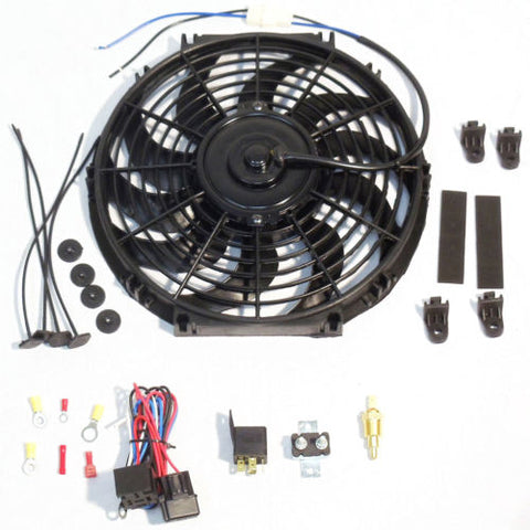 "12"" Electric Curved Blade Reversible Cooling Fan 12v 1400cfm with Thermostat Kit"