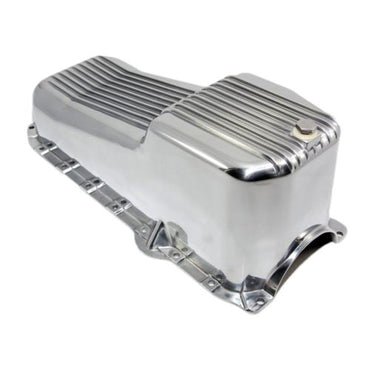 SBC Chevy Finned Polished Aluminum Oil Pan - Small Block 283-400