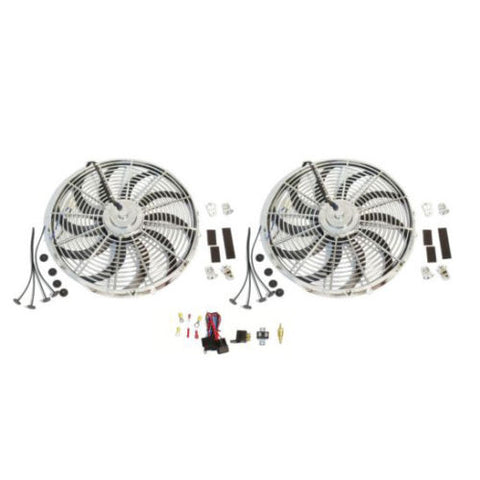 "2 Sets New Chrome 16"" Reversable Electric Radiator Cooling Fan 2500CFM with Thermostat Kit"