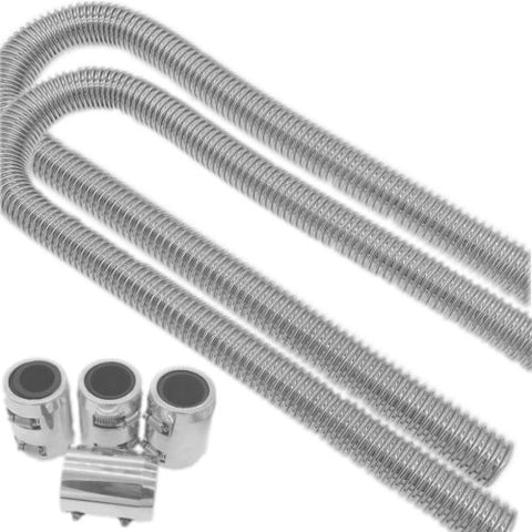 "NEW 44"" Universal Stainless Heater Hose With Polished Caps"