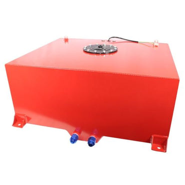 10 Gallon OEM Polished Aluminum Street Drift Strip Racing Fuel Cell Gas Tank with Lever Sender Hot Rod(Red)